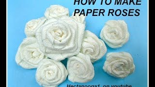 How to make PAPER ROSES, from paper towels, paper crafting, wedding decor, party decor