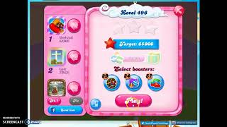 Candy Crush Level 496 Audio Talkthrough, 1 Star 0 Boosters