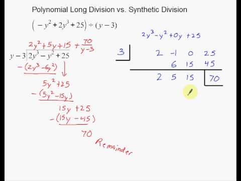 Polynomial Long Division vs Synthetic Division - YouTube