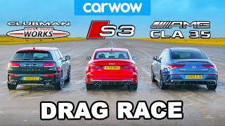 AMG CLA 35 v Audi S3 v MINI Clubman JCW - DRAG RACE, ROLLING RACE & BRAKE TEST!