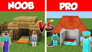 Minecraft Noob Vs Pro Secret Dog House Build Battle In Minecraft  Animation