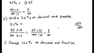 PC04 Converting Percent to Decimal and Fraction
