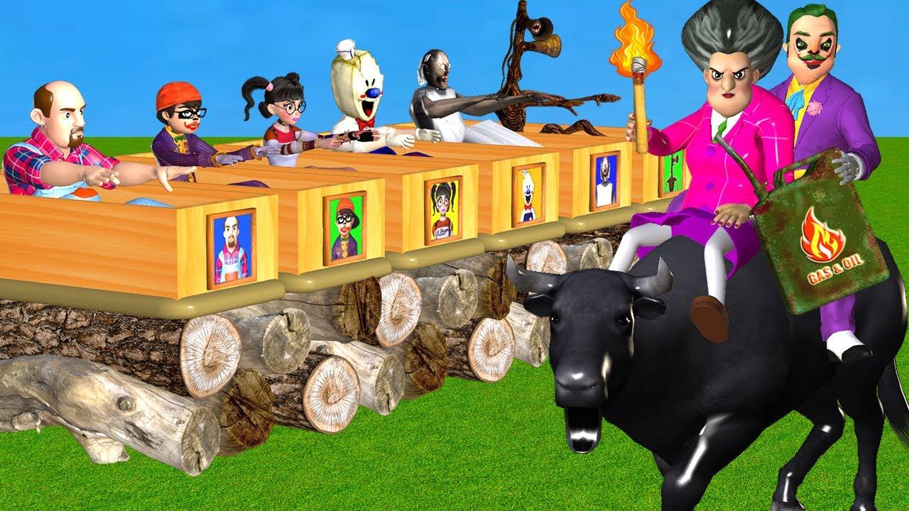 Scary Teacher 3D Miss T vs Hello NeighborJoker vs Cow Troll 6 Neighbor with Coffin Dance Compilation