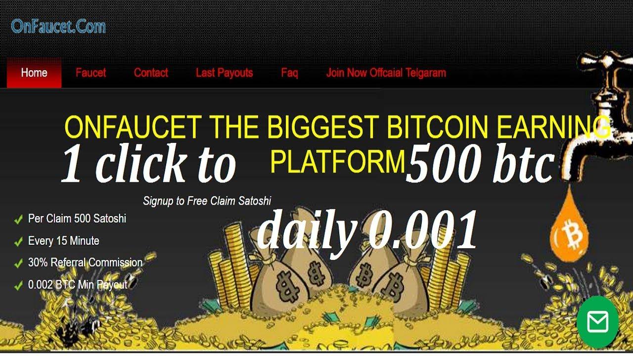 Earn BITCOIN free 1 Click to 500sto BTC Daily 0 001 BTC No