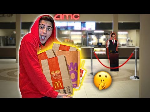 Sneaking ENTIRE Fast Food Menus Into The Movies! (CAUGHT)