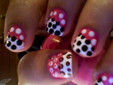 funky polka dot nails