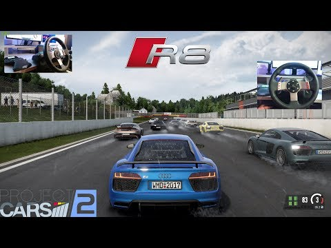 ✅ Project CARS 2 - Audi R8 V10 Plus / Double WheelCam in the Rain