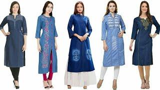 Super Stylish And Outstanding Denim Kurti/Kurta Dress Design For Stylish Girls/Summer Fashion
