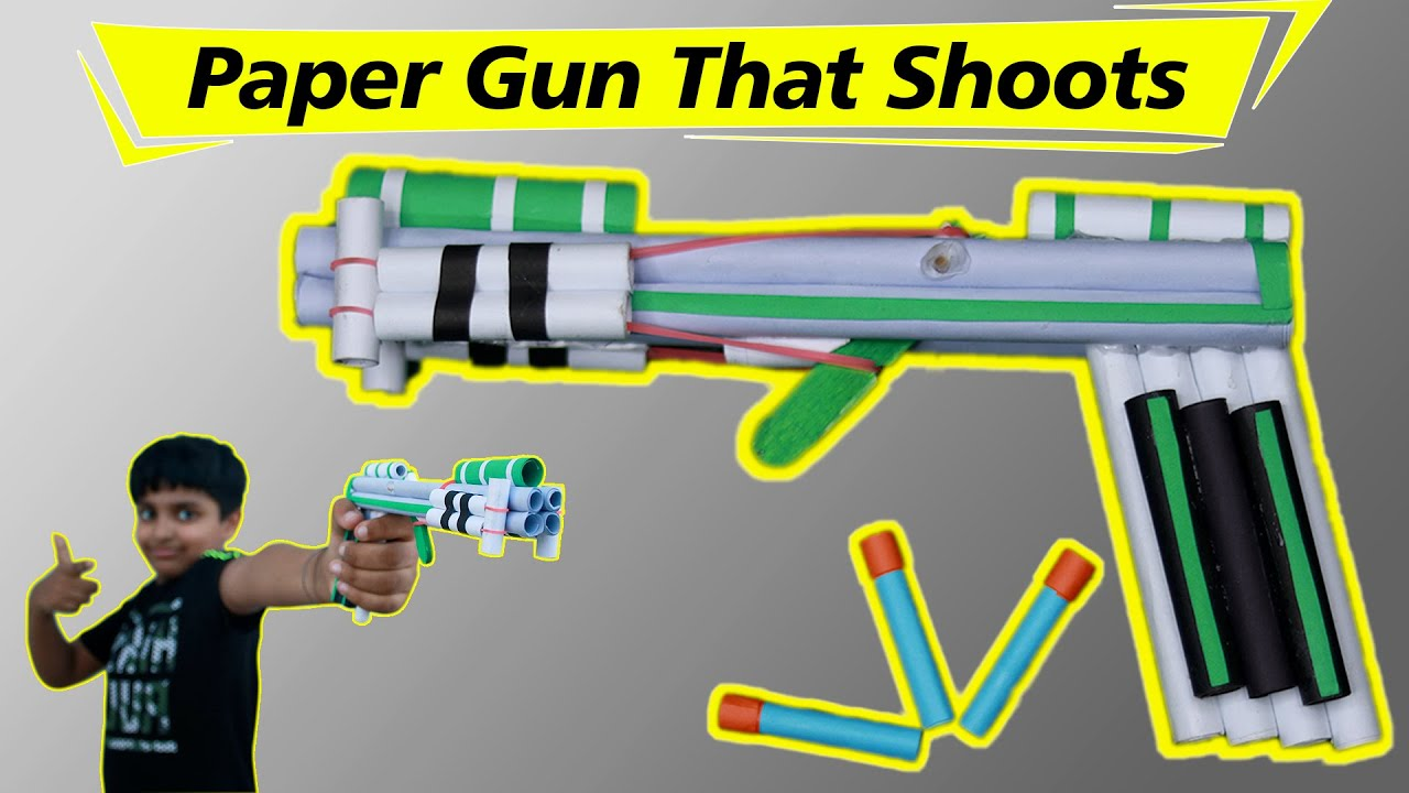 How to make PAPER GUN that SHOOTS paper bullets | धमाकेदार कागज़ की Pistol | Easy Paper Craft DIY