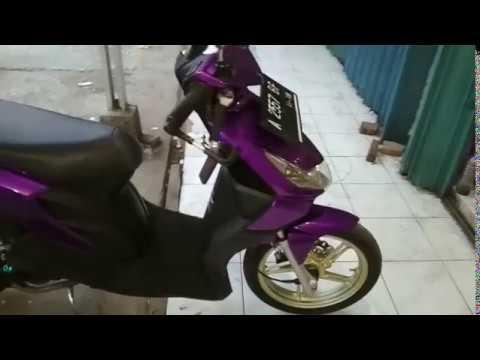 Modifikasi Motor Beat Karbu Warna Ungu Arena Modifikasi