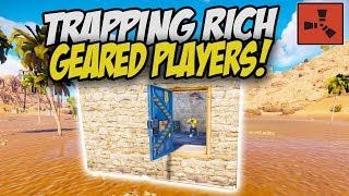 STACKED Geared Players Get TRAPPED and DESTROYED! - Rust Solo Survival Gameplay