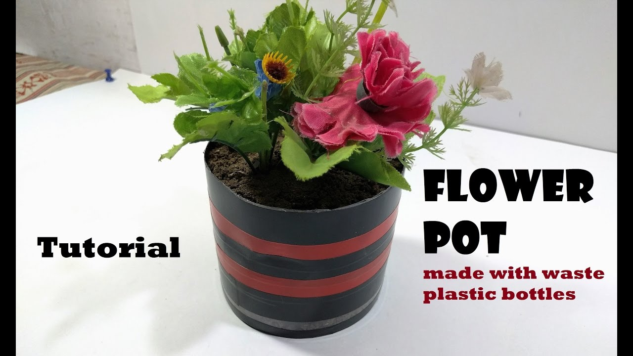 Make a flower pot with used plastic bottle full tutorial for Flower pot making with waste material