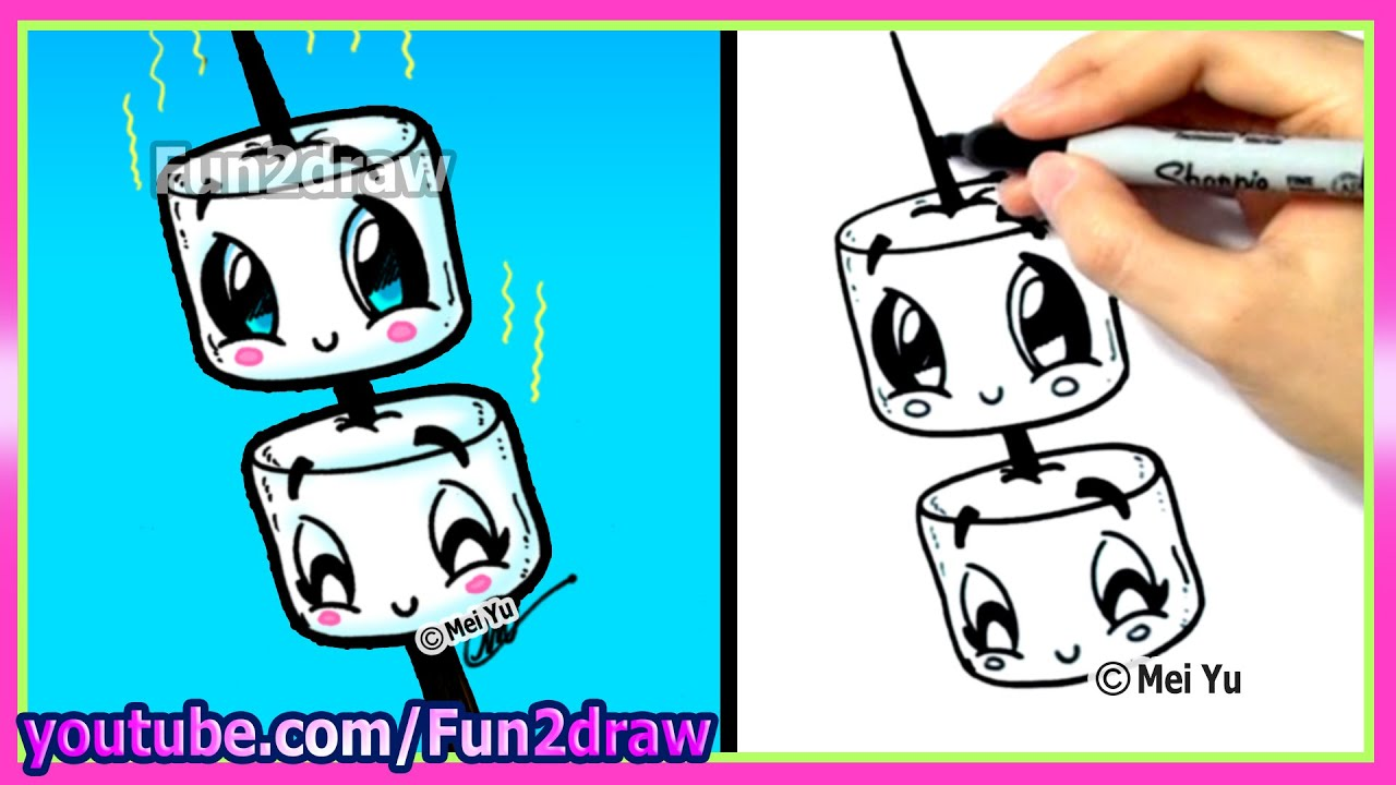 How To Draw Marshmallows Cute Amp Easy