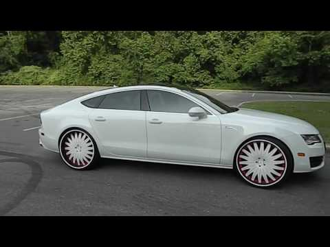 """White on White Audi A7 on 24"""" Amani Forged Wheels at Mlk Park"""