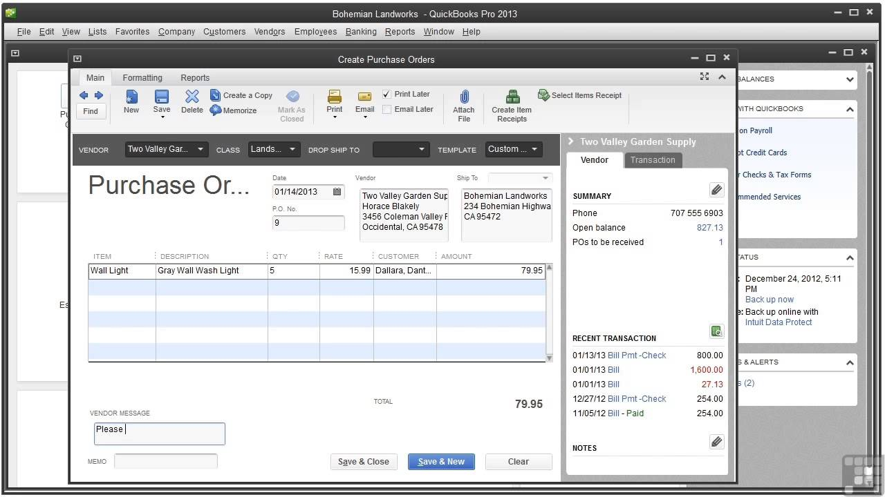 QuickBooks 2013 Tutorial | Creating Purchase Orders   YouTube  Examples Of Purchase Order Forms