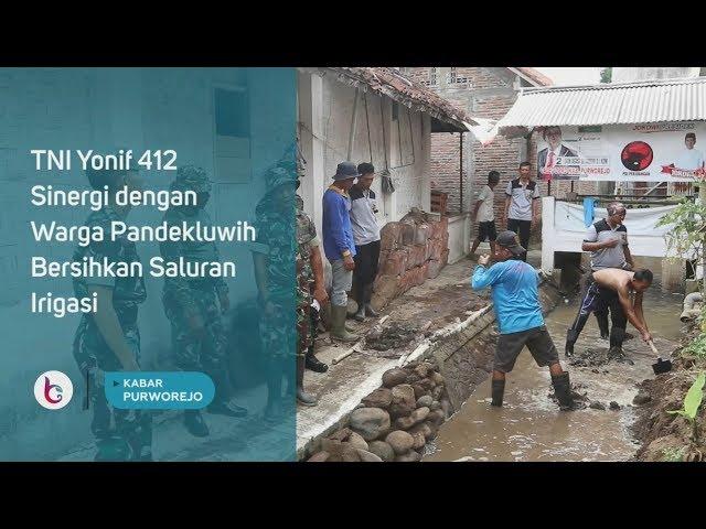 TNI Yonif 412 Sinergi dengan Warga Pandekluwih Bersihkan Saluran Irigasi