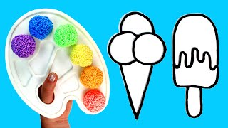 Play Foam Ice Cream How to Paint with Foam Clay and Play Doh Coloring Fun Creative Crafts for Kids