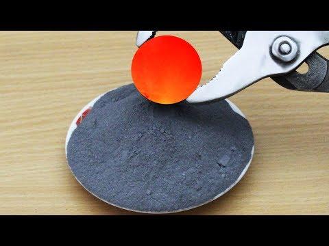 EXPERIMENT Glowing 1000 degree METAL BALL vs Gunpowder (100 grams)