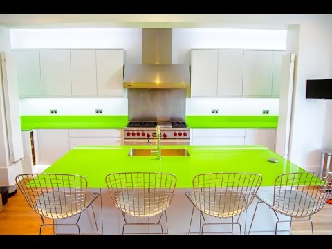 """Lime Green"" Glass Kitchen Worktop and Island Installation - CreoGlass"