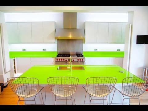 Lime Green Gl Kitchen Worktop And Island Installation Creogl