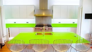 Lime Green Glass Kitchen Worktop And Island Installation Video