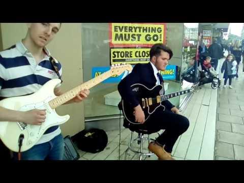 Live Jazz improvisation in Princes Street. Edinburgh