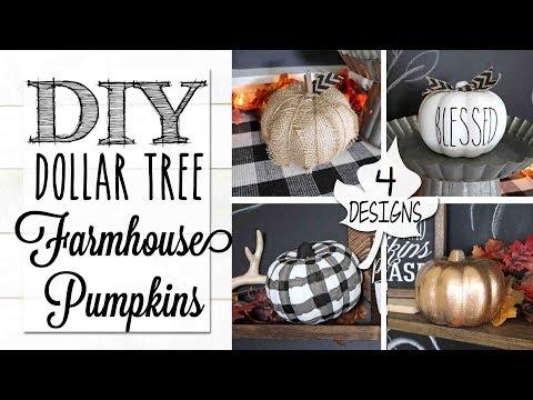DIY Dollar Tree Farmhouse Pumpkins | 4 Designs!