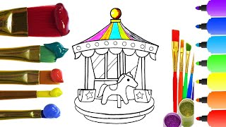 How to Draw Amusement park With Coloring I Drawing for Children