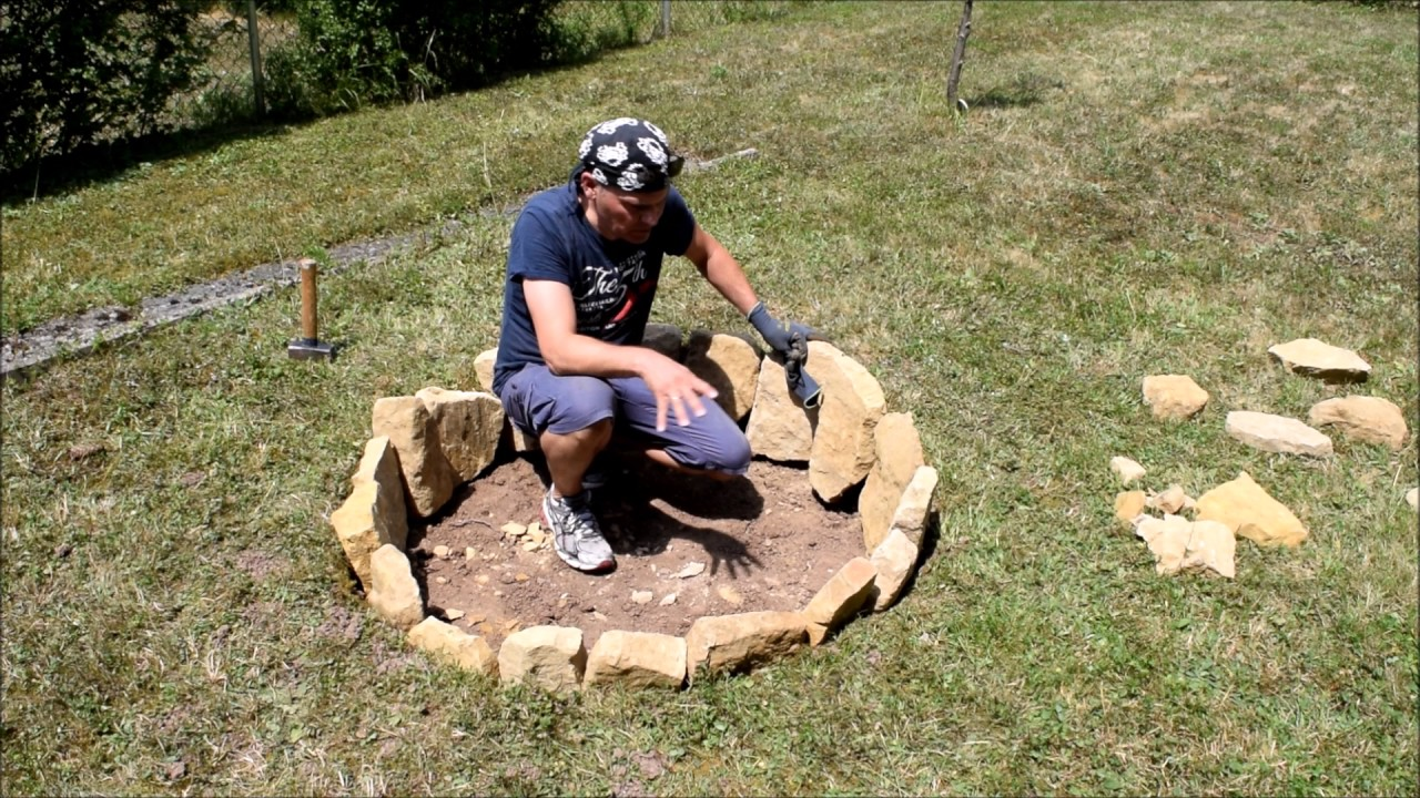 Feuerstelle fur den garten  Feuerstelle für den Garten aus Steinen selbst bauen. - YouTube