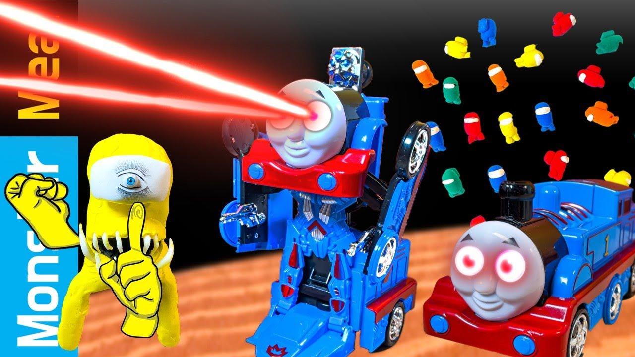 Thomas Train exe Robot & Among us waffle | eating Sounds [fictional video] | Kluna Tik Style