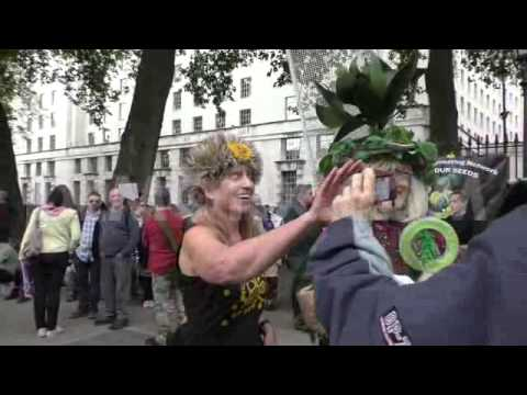 Demonstration held in London against Monsanto and GM food