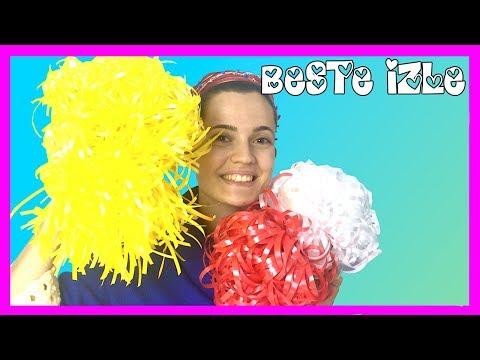 Beste ile ponpon yapımı ve Türk bayrağı yapımı Diy kendin yap eğitici ve eğlenceli video