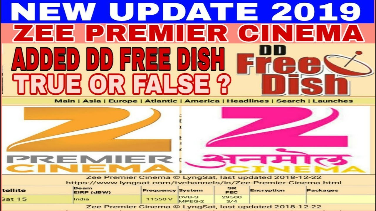 Add new channel zee premier cinema on dd free dish 2019 - true or false news