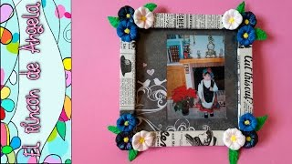 DIY Como decorar un marco de fotos, con flores de goma eva y decoupage