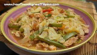 Filipino Food Ginisang Repolyo Recipe Cabbage Tagalog English Pinoy Cooking