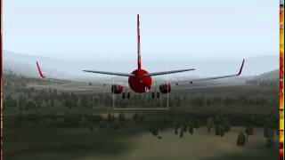 X-plane 9 demo: Air Berlin 737-800 landing at Innsbruck (LOWI) Fully manual with mouse