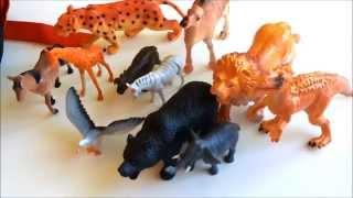 Фигурки животных для детей обзор. Учим животных.