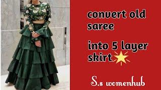 Reuse old saree into 5 layer lehenga / skirt, only five metar fabric/ saree five layer ruffle skirt
