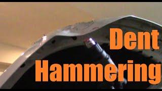 Hood Dent Hammer out.  Aluminium Land Rover LR3 bonnet.