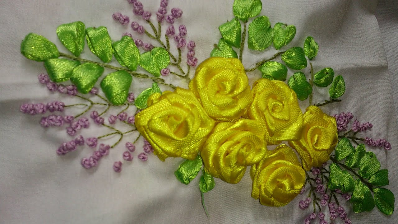 Ribbon embroidery tutorial rose youtube