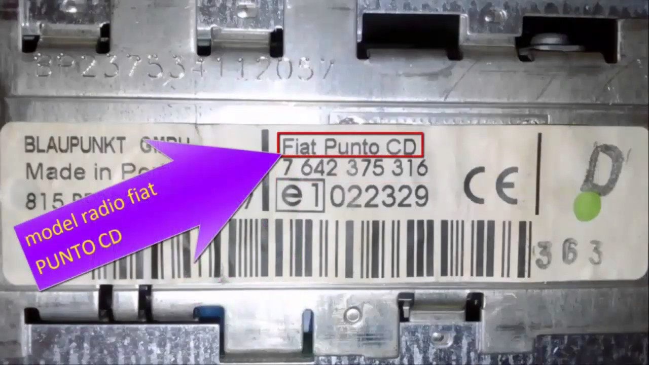 FIAT PUNTO CD CODE radio FREE SERIAL NUMBERS  PART NUMBERS