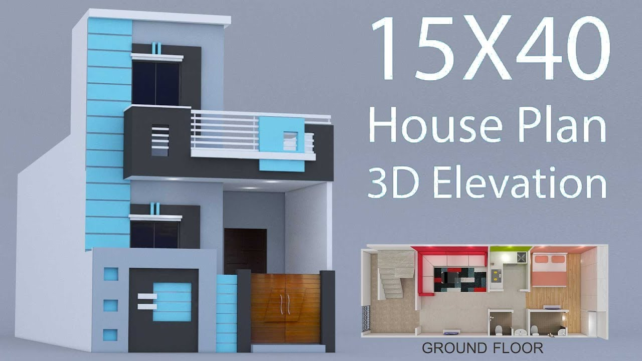 15X40 House ground floor plan with 3d elevation by ...