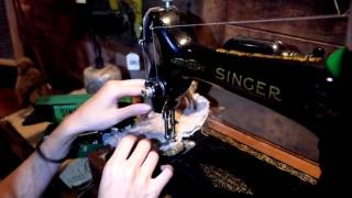 美國古董1948年代SINGER裁縫機/縫紉機操作影片