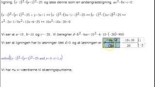 Modul1 - Opg 4c Skæring mlm linje og cirkel - opgaveløsning
