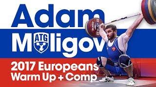 Adam Maligov Full Warm Up + Competition Lifts (180kg Snatch!) 2017 European Championships