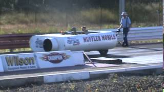 Muffler car down the drag strip