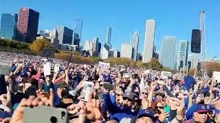 "brett eldredge sings ""go Cubs go."" Chicago cubs victory rally"