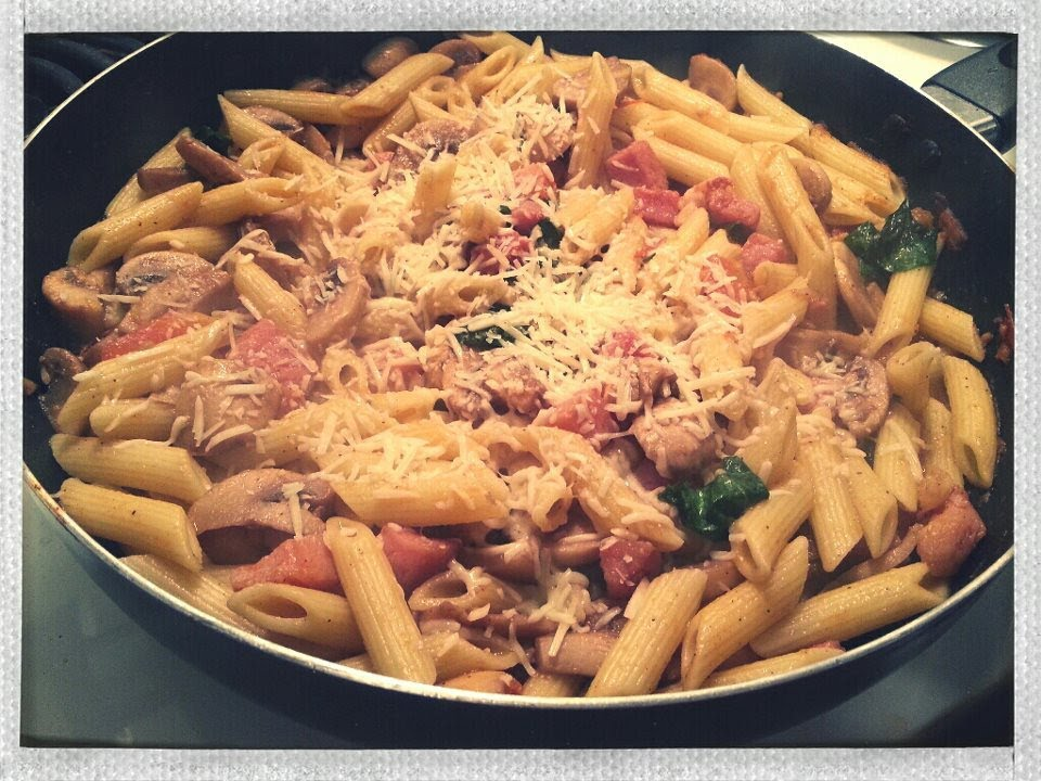 penne pasta with mushroom and ham recipe - YouTube