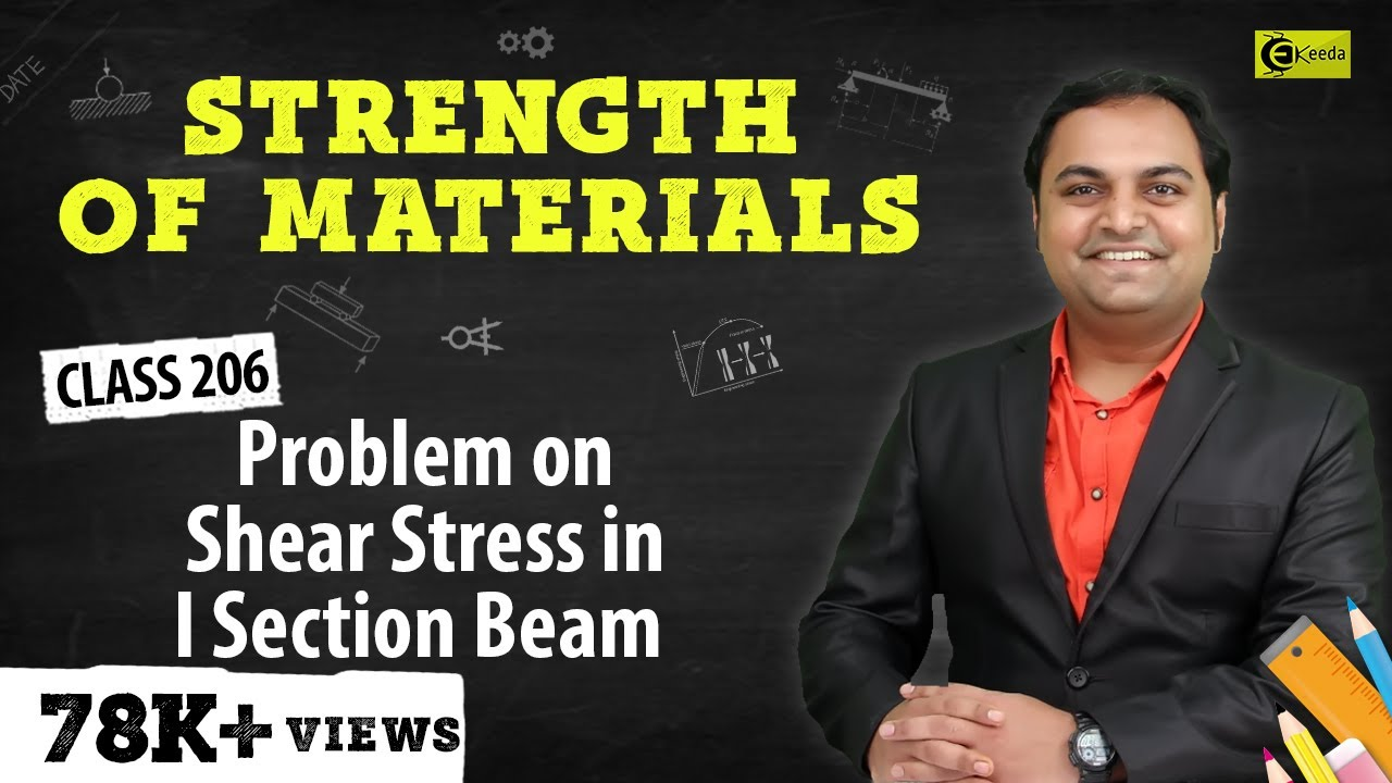 Problem On Shear Stress In I Section Beam Beams Bending Moment Diagram Distributed Load Shearstressinbeams Strengthofmaterials Somvideolectures