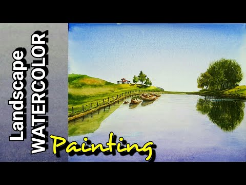 WATERCOLOR DEMONSTRATION – HOW TO LANDSCAPE WATERCOLOR PAINTING very easy steps